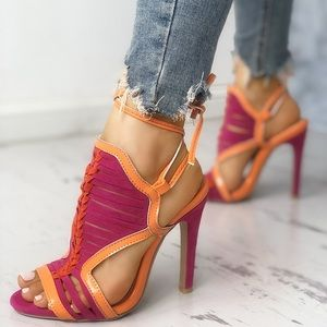 Shoes - Multi-strap Contrast Color Caged Heeled Sandals